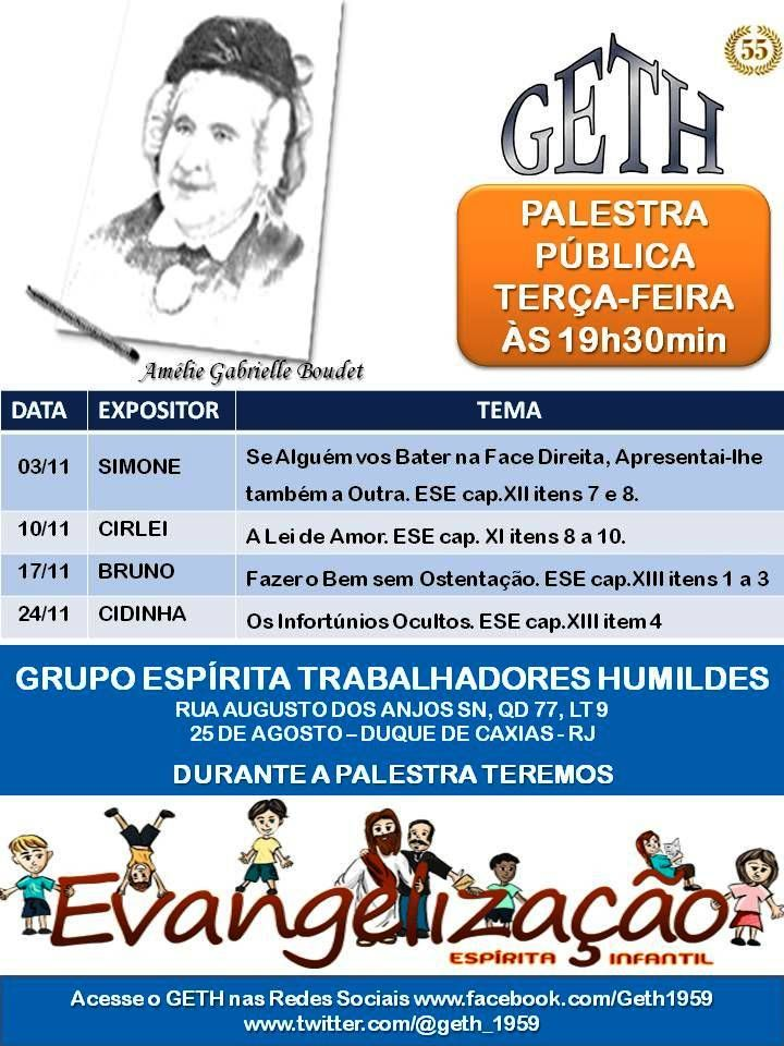 Calendário de Palestras do Mês de Novembro do GETH – Duque de Caxias – RJ - http://www.agendaespiritabrasil.com.br/2015/11/02/calendario-de-palestras-do-mes-de-novembro-do-geth-duque-de-caxias-rj/