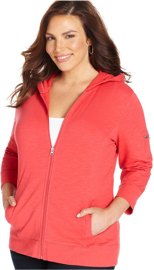 Style&co. Sport Plus Size Three-Quarter-Sleeve Hoodie