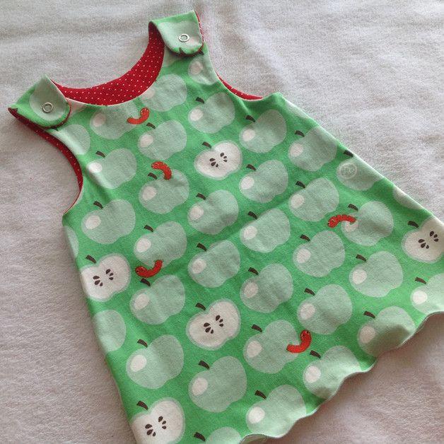 """Kleider - Strampel-Kleidchen """"Äpfel mit Würmchen"""" grün - ein Designerstück von Frau-Haase bei DaWanda"""