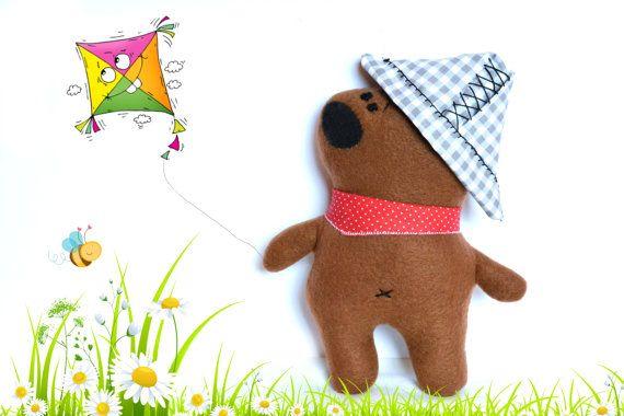 Stuffed bear toddler gift stuffed animal by Fairybugcreativetoys
