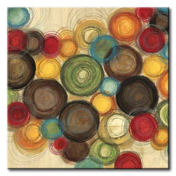 JlE_099_Whimsy Square II / Cuadro Abstracto, Circulos de Colores
