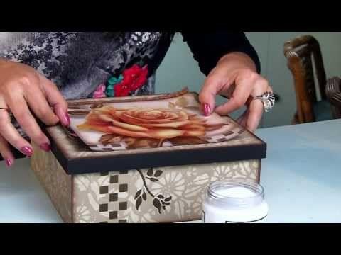 ▶ Passo a passo Decoupage em Madeira Caixa Porta Jóias by Livia Fiorelli - YouTube