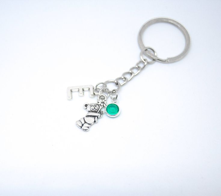 Personalised Teddy Bear Keychain Initial Charm Teddy Bear keyring Baby Shower Keychain bear Charm pendant Girlfriend Birthday Valentine Day by metal8lovers on Etsy