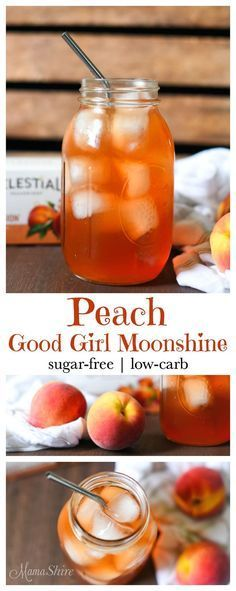Quick and easy to make Peach Good Girl Moonshine. It's a delightful and refreshing drink especially for summertime. THM All-Day Sipper. Sugar-free. Low-carb