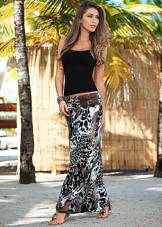 Black Seamless Cami With Animal Multi Belted Print Maxi