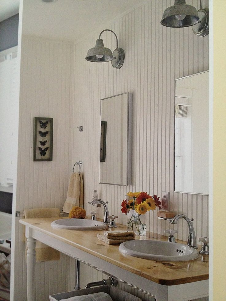 cottage lighting ideas. barn lights and sideboard as vanity cottage lighting ideas