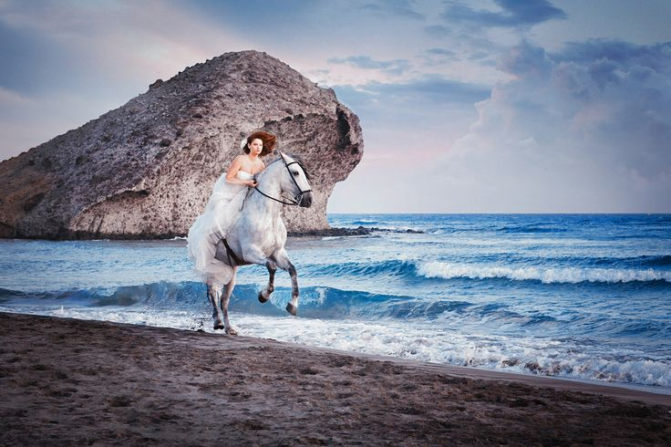 Hello, coolness. Horses on the Mediterranean.   It doesn't have to just be the bride. We can have the groom as well get some horse back riding in.