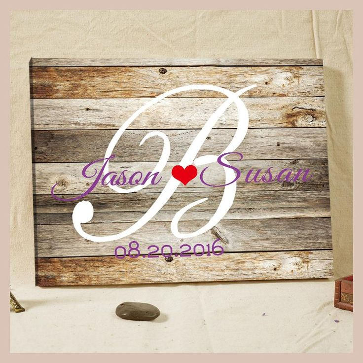 Personalized Rustic Wedding Guest Book Woodgrain Custom Names & Date Framed Canvas Prints Visitas Wedding Welcome Boards Design