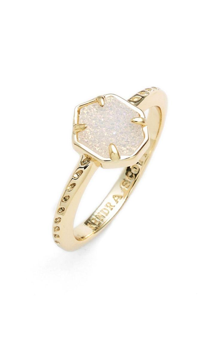 Kendra Scott 'Calvin' Drusy Ring Color: gold iridescent drusy Size: 7 Price: $65