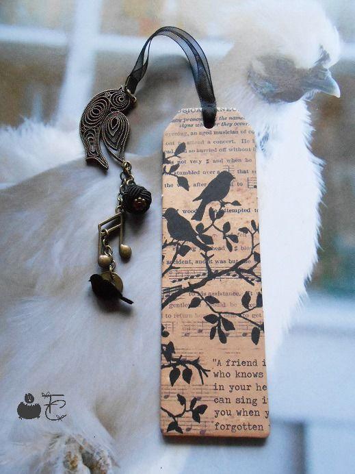 """Marque pages Accessoire papèterie romantique """"Chants d'oiseaux"""" - Image…"""