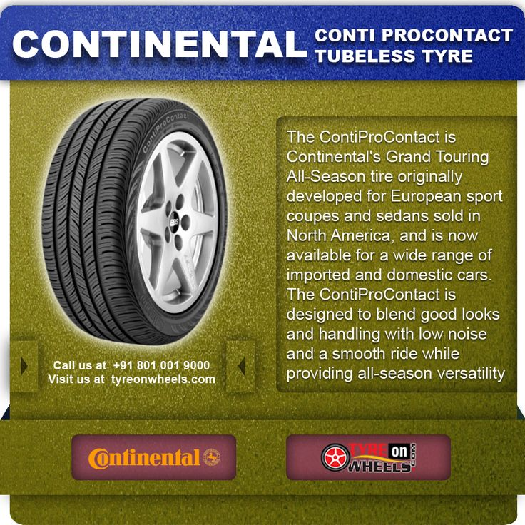 Buy Online CONTINENTAL CONT PROCONTACT Tubeless Tyres & get fitted with Mobile Tyre fitting Vans at your doorstep at Guaranteed Low Prices call us +91 801 001 9000 or visit us at http://www.tyreonwheels.com/Tyre/brand/carTyreBrands.php?brand=Continental