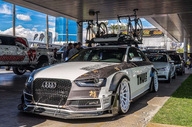 Ein Tourenwagen als Fahrradtransporter? Dieser Audi S4 ist alles andere als gewöhnlich!  http://www.autotuning.de/ein-tourenwagen-als-fahrradtransporter-dieser-audi-s4-ist-alles-andere-als-gewoehnlich/ Allroad Outfitters, Allroad Outfitters S4, Audi S4, Audi S4 Allroad Outfitters, Audi S4 Fahrradträger, Audi S4 SEMA, Audi S4 Tuning. Audi S4 Bodykit, Audi Thule, Audi Tourenwagen, Breitbau Audi, Breitbau S4, Tourenwagen S4