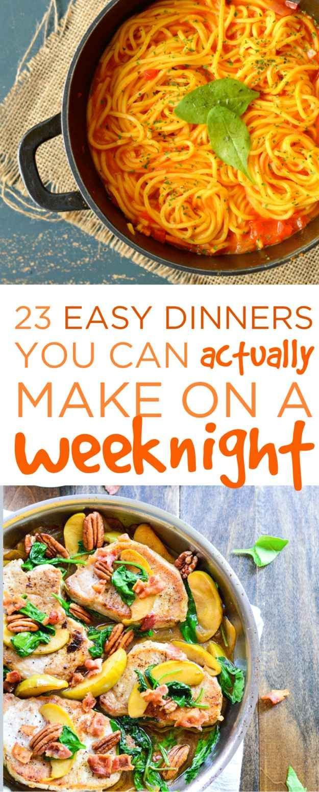23 Easy Dinners You Can Actually Make On A Weeknight (scheduled via http://www.tailwindapp.com?utm_source=pinterest&utm_medium=twpin&utm_content=post570437&utm_campaign=scheduler_attribution)