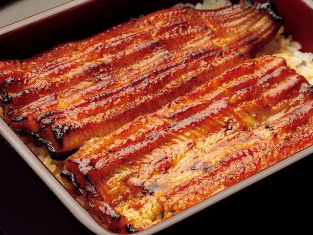 """《 恵比寿 》鰻重(¥2,835~) 幻の鰻が食べられる『松川』 恵比寿 1971年創業の老舗鰻屋。幻の鰻と言われ、国内でもっとも仕入値の高い、静岡・大井川の""""共水マルトク鰻""""を使用している。 店主の安藤氏いわく、「鰻は脂がのる冬場に食べるのが一番美味しいですよ」とのことだが、夏でも頂きたいのがこの鰻重だ。 甘みが少なくあっさりめのタレで、一年中食べても飽きない。"""