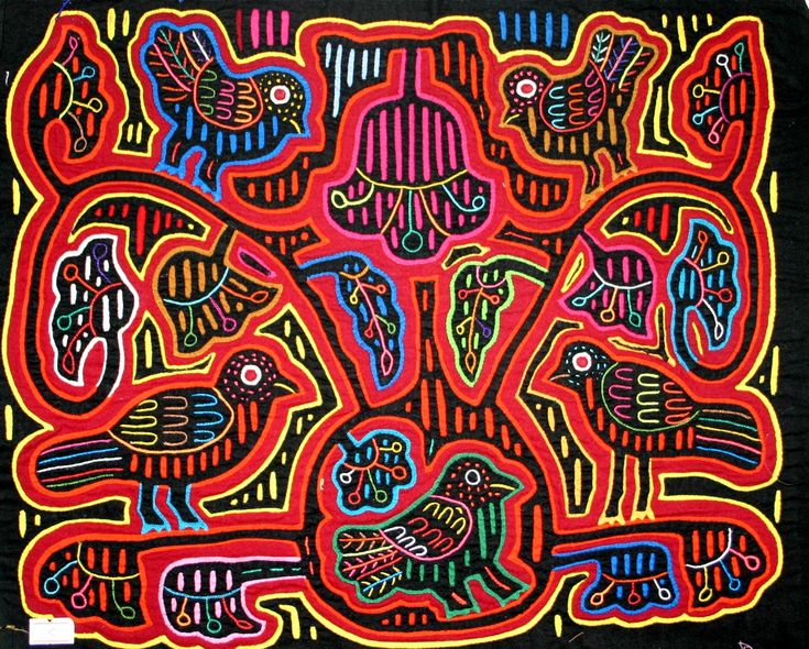 "Molas are beautiful applique and embroidery ""paintings"" traditionally made by women of the Kuna; an indigenous people of Panama and Colombia."