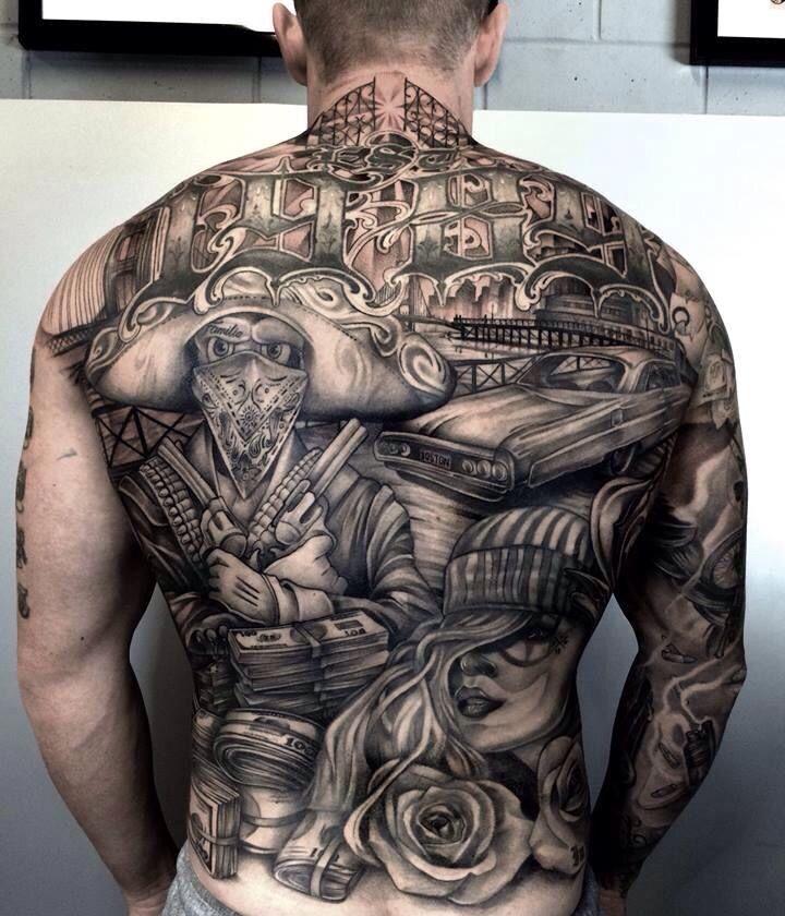 Chicano back tattoo