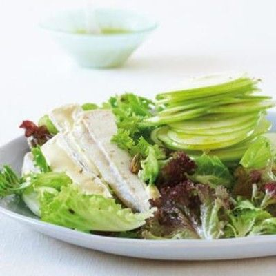 Taste Mag   Salad of organic green leaves, apple, pistachios and organic Brie with apple vinaigrette @ http://taste.co.za/recipes/salad-of-organic-green-leaves-apple-pistachios-and-organic-brie-with-apple-vinaigrette/
