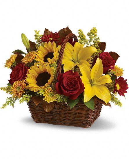 Golden Days Basket Flowers, Golden Days Basket Flower Bouquet - Teleflora.com