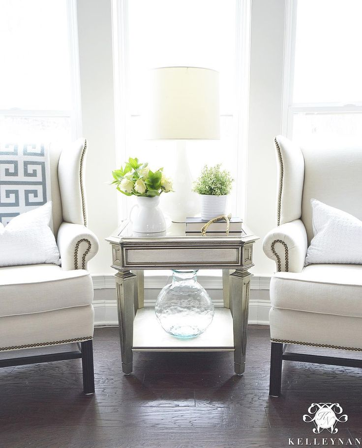 Kelley Nan (@kelleynan) • Instagram - Pottery Barn Upholstered Thatcher Wingback Chairs | ZGallerie Palais Side Table KELLEYNAN.com