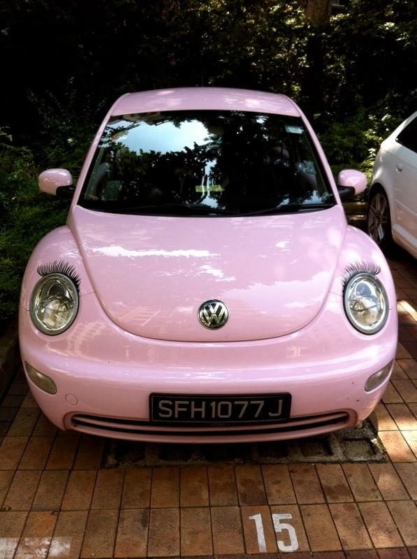 A Pink Bug With Lashes Cars I Adore Pink Volkswagen Beetle Pink