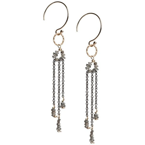 Sophie Gray Diamond Dangle Earrings by Tracy Arrington: Gold, Silver & Stone Earrings available at www.artfulhome.com