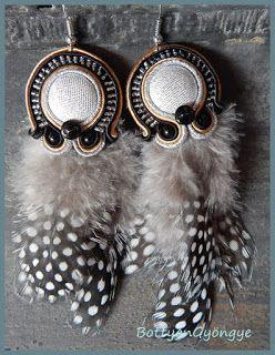 Extrém elegancia - sujtás fülbevaló tollal - Extreme elegance - soutache feather earrings