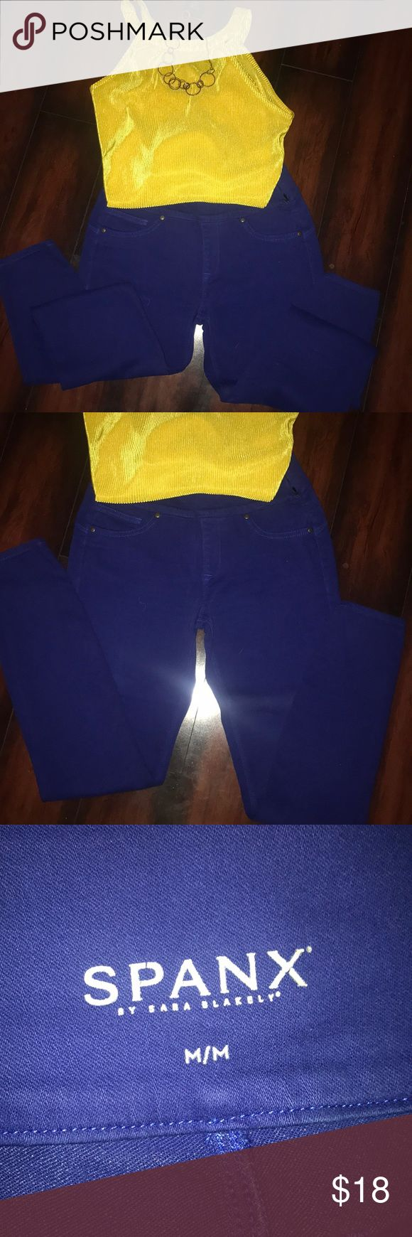 Blue Spanx pants w/ necklace and earrings Spanx size medium skinny pants. Bronze necklace with multiple rings and matching earrings. Looks great with various colors. Yellow or white shirt will help accent the necklace. SPANX Pants Skinny