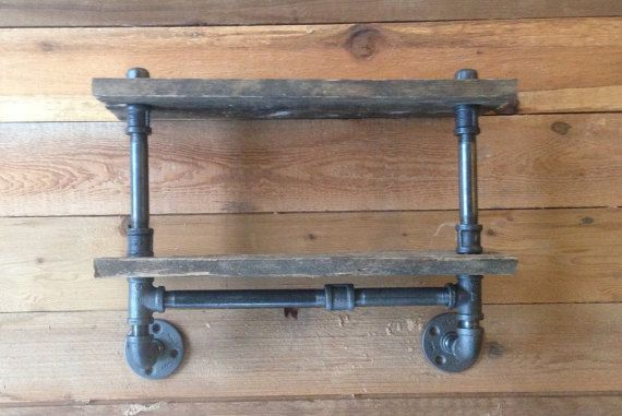 Industrial Pipe Shelf- Double Decker- Industrial Pipe- Pipe Shelf- Rustic Shelf