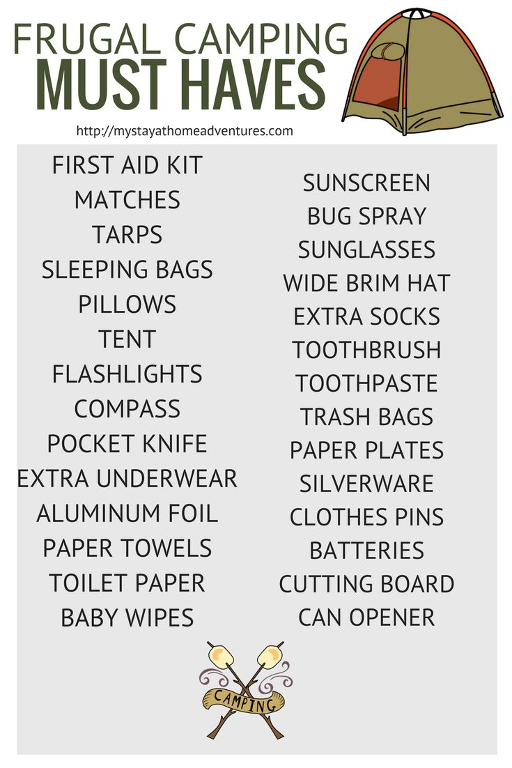 Free frugal camping must haves printable available here for free.