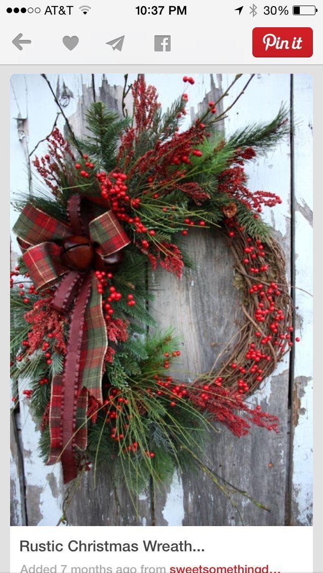 Beautiful Grapevine Wreath Plaid bow pine and