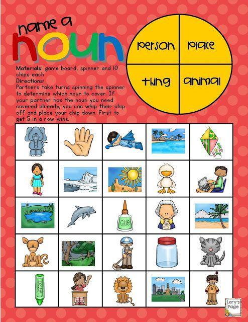 Name A Noun Game Board