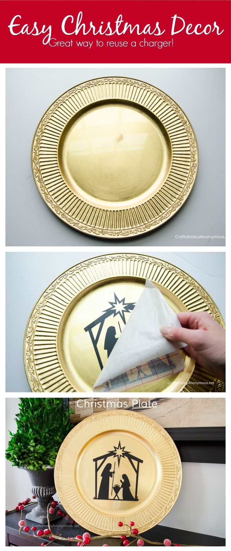 DIY Christmas Charger plate decor idea. Would make a great handmade Christmas gift too!