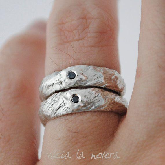Alianzas de boda ogánicas diamante negro anillos de