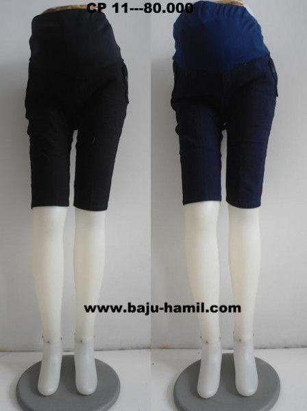 CLANA HAMIL KODE CP 11---80.000 Bahan jeans,dilengkapi dengan kantong perut dari bahan kaos yang nyaman,karet belakang,karet serut depan. ALL SIZE: lingkar perut 80cm bisa melar sampai 130cm,lingkar paha 46cm,panjang celana 55cm,lingkar ujung celana 34cm. HITAM BIRU    www.baju-hamil.com