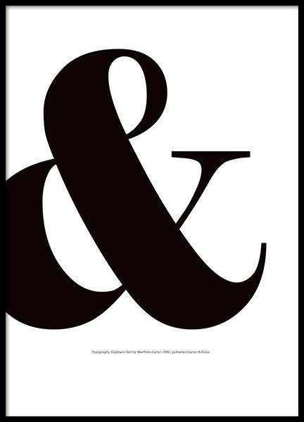 Schmücken Sie Ihre Einrichtung mit einem stylischen Typografie-Poster. Eines unserer wunderschönen schwarz-weißen Poster mit Graphic art mit &-Zeichen. Stilvolles Poster mit Typografie. Gedruckt auf hochqualitatives mattes Papier. www.desenio.de