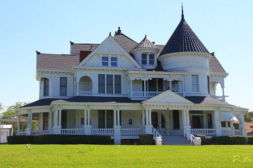 """txdrivebyshooting:  Scarborough House - Bonham, Texas """"Old home of pioneer banker A. B. Scarborugh. Built in 1897. The massive architecture combines Gothic, Grecian and 17th Century features in arches, balconies, cupola, turrets, gables. And example of Victorian Romanesque. Bought in 1937 and preserved by Joe C. Denton."""" Recorded Texas Historic Landmark-1966."""