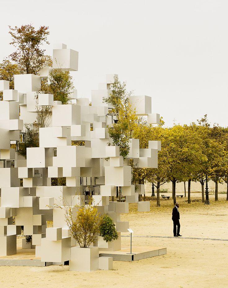 sou fujimoto adds greenery to layered cube installation in paris