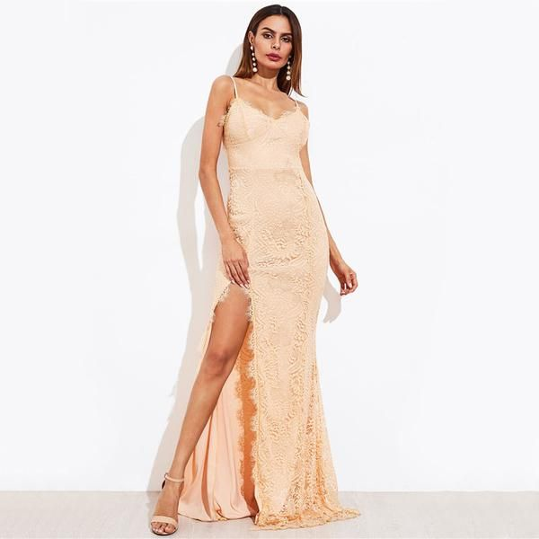 Apricot Lace Wedding Guest Maxi Dress