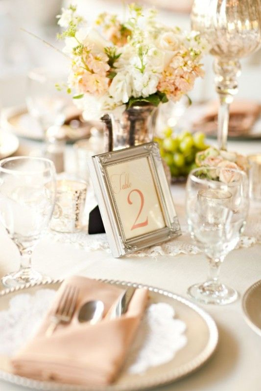 Use cheap dollar stores frames to add a touch to table numbers. Use scrapbook paper or card stock and colored font to jazz it up