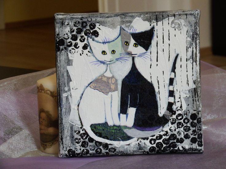 Leinwandbild Mixed Media Rosinas Katzen Katzenfamilie