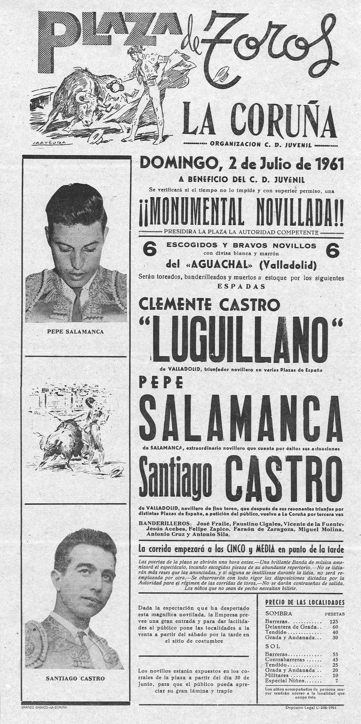 ¡¡¡ Monumental novillada !!! : Luguillano, Pepe Salamanca, Santiago Castro : Plaza de Toros, La Coruña, domingo, 2 de julio de 1961 / organización, C.D. Juvenil.