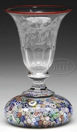 Baccarat Glass; Spill Vase, Millefiori Base, Close…
