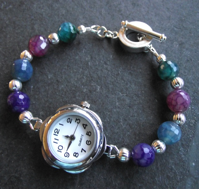 Watch - bracelet style with rainbow Fire Agate