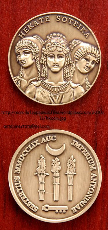 Hecate coins available for sale. http://scrollofpoppaeus.wordpress.com/antoninia-imperium-antoniniae/antonine-coins/