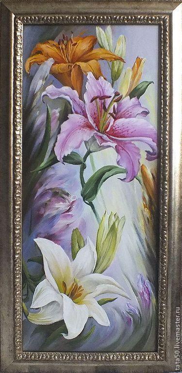 """Купить """"Три грации.Лилии"""" - сиреневый, лилии, белая лилия, картина в подарок, картина для интерьера"""