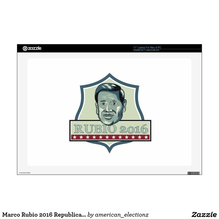 """Marco Rubio 2016 Republican Candidate 17"""" Laptop Decal. Marco Rubio 2016 Republican candidate 17"""" laptop decal with an illustration showing Marco Rubio, an American senator, politician and Republican 2016 presidential candidate set inside shield crest with words Rubio 2016 done in retro style. #Rubio2016 #republican #americanelections #elections #vote2016 #election2016"""
