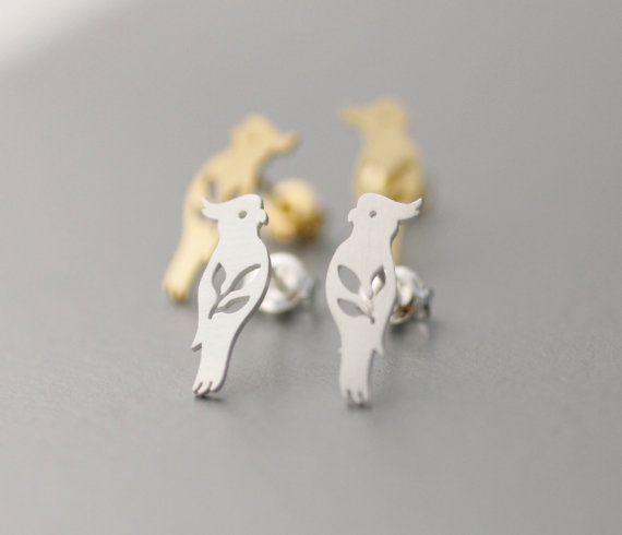 Fashion Jewelry New Tiny Parrot Silver Bird Stud Earrings For Women Animal Bird Earrings Jewelry Girl Gifts S070