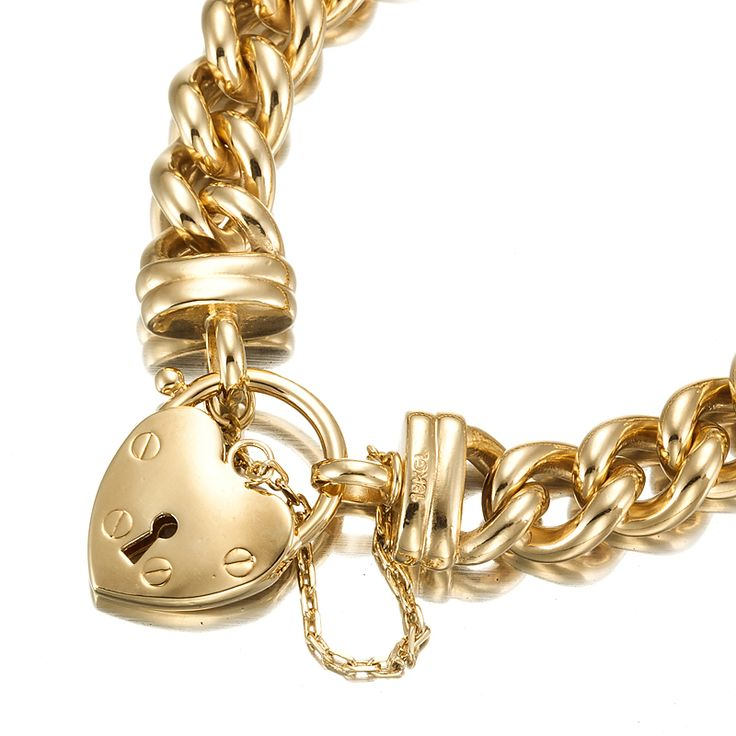 18ct Yellow Gold Layered Chunky Curb Bracelet with Plain Locket   Allure Gold