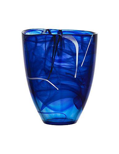 Kosta Boda Contrast Vase, Large - Blue
