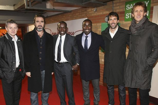 United legends: Ole Gunnar Solskjaer, Eric Cantona, Dwight Yorke, Andy Cole, Ruud van Nistelrooy, and Edwin van der Sar
